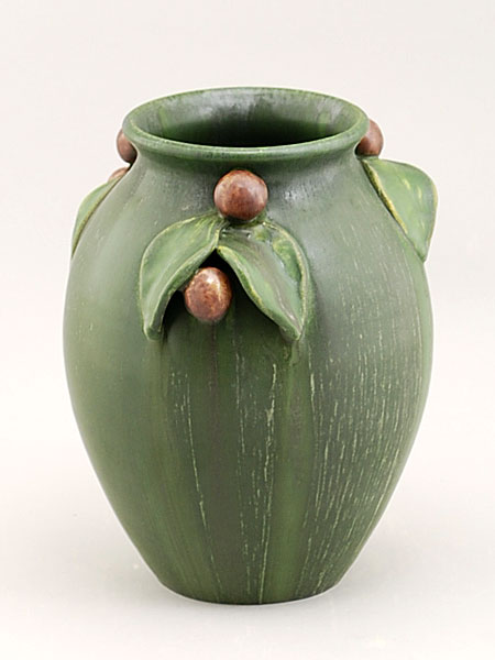 Wild plum vase details for Arts and crafts pottery makers